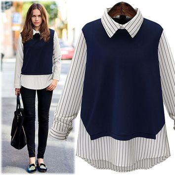 Large size 2016 New Autumn Fashion Women Peter pan Collar Stripe Stitching Long-Sleeved Shirt Ladies tops blouse