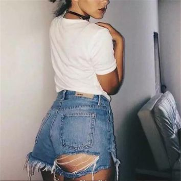 Women's Fashion Ripped Holes Denim High Waist Shorts [10399192269]