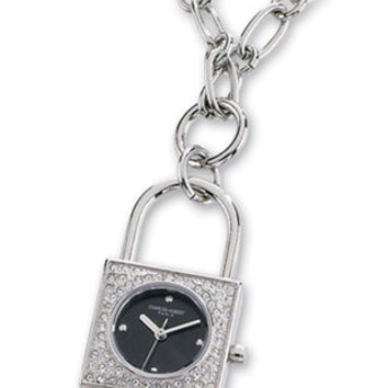 Charles Hubert Lock Shaped Watch Necklace - Black Dial - Swarovski Crystals