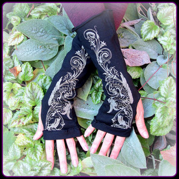 arm warmers with dragon print ~ handy for hooping!  ~ gothic steampunk tribal fusion