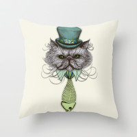 Not Your Average Cat Throw Pillow by micklyn
