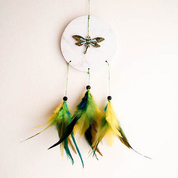 Dream Catcher Mobile - Green Dragonfly - With Sparkling Green Dragonfly and Yellow-Turquoise-Green Feathers - Home Decor, Nursery Mobile