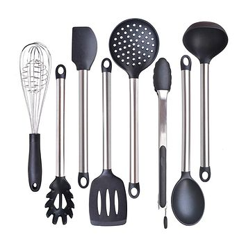 6 & 8 Pieces Super Sturdy Cooking Utensils Set & Non Stick Silicone Tips For Pots and Pans, Kitchen Utensils by Leeseph