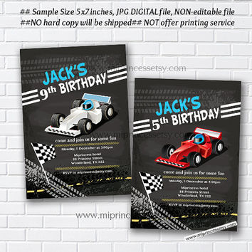 Race Car Birthday Invitation for any age 1st 2nd 3rd 4th 5th 6 7 8  kids birthday invitation Vintage Retro Rustic - card 267