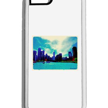 Chicago Skyline Watercolor White Dauphin iPhone 6 Cover by TooLoud