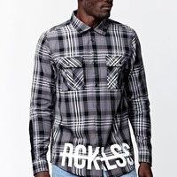 Young & Reckless Urbane Woods Button Down Woven Shirt - Mens Shirts - Black
