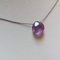 Amethyst Faceted Heart Briolette Necklace, Natural Amethyst Pendant on Cord, Minimalist Simple Jewelry, Sterling Silver Clasp, Wabi Sabi