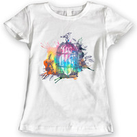 Heart Cage Summer 2016 T-Shirts Watercolor Vintage Bird Ladies Gift Idea 100% Cotton