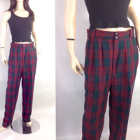 Giorgio Sant' Angelo Tartan Plaid Wool Pants / Vintage 80s Wool Pants / Pleated Trousers / M / Punk High Waisted Menswear 12 M 30 in