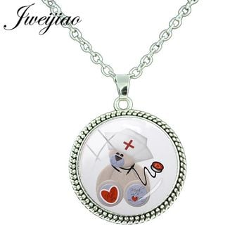 JWEIJIAO Love Heart Bear Charms Necklace & Pendant Stethoscope Nurse Necklaces Medical School Students Staff Jewelry Gift SE57