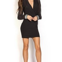 Bijou Black Wrap Front Long Sleeve Cocktail Dress with Jewel Cuffs