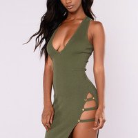 Charlee Ribbed Dress - Olive