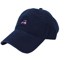 Golf Cart Twill Hat in Navy w/ Pink by Country Club Prep