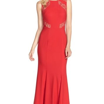 Women's JS Collections Lace Inset Ottoman Mermaid Gown,