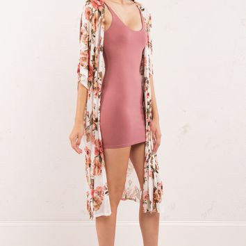 Floral Print Mesh Long Cardigan in Pink and White - AKIRA