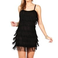 Black Fringe Flapper Cocktail Dress