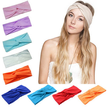 Hair Accessories Twist Elasticity Turban Headbands for Women Sport Head band Yoga Headband Headwear Hair bands Bows Girls LEN01