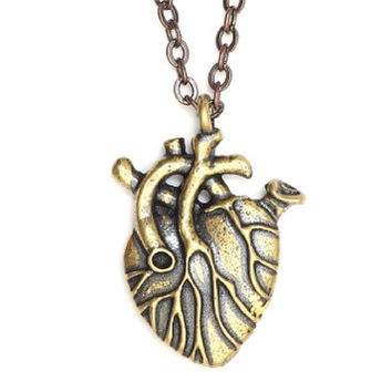 Human Heart Necklace Vintage Gold Tone Key Lock Gothic Love NM35 Pendant Statement Fashion Jewelry