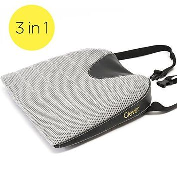 Car Seat Cushion w/Strap-THICK Auto Drivers Wedge|Orthopedic Memory Foam-Washable Cover