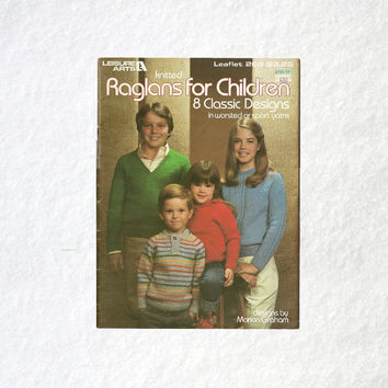 Knitted Raglans • Classic Children's Designs • Cute Kids Sweater Patterns • 1980s Yarn Clothing • Knitted Kids Wear • Youth Sweater Vests