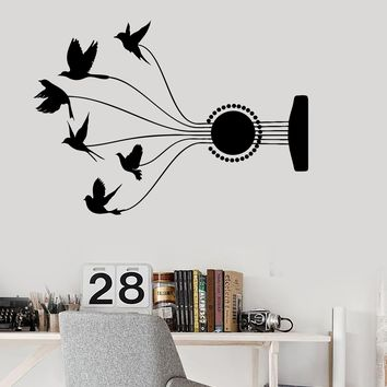 Vinyl Wall Decal Guitar Music Birds Room Beautiful Musical Decor Stickers Unique Gift (ig3038)