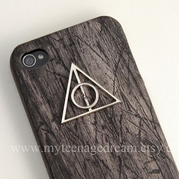 harry potter Iphone 4 Case,Deathly Hallows iphone 4s case, Iphone Case, black wooden Hard Case