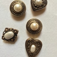 A Set of 5 Really exquisite Victorian Revival Antiqued Goldtone & Faux Pearl 80s Bling Hipster Prairie Fashionista Button Covers