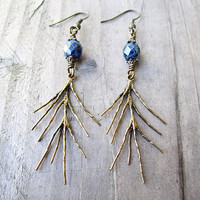 Golden Bronze Pine Needles & Dark Blue Picasso Glass Earrings