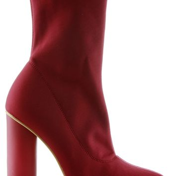 Paw-1 Pointy Toe Lycra Elastic Pull On Ankle Bootie Block Round Heel Boot Burgundy