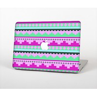 The Lime Green & Purple Tribal Ethic Geometric Pattern Skin Set for the Apple MacBook Air 13""