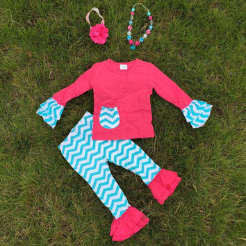 In Stock-Hot Pink Ruffle top& Blue chevron Ruffle Pant Set