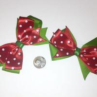 Red and Green Christmas Bow Set, Polka dot bows, Holiday accessories, Strawberry Bows, watermelon hair bows, stocking stuffers, gift ideas