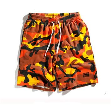F O G Kanye West Orange Camouflage Shorts 2018 Summer Men Camouflage Camo Military Shorts Punk Rock Dance Pocket Shorts