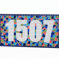 Colorful Mosaic Address Plaque, Outdoor House Numbers