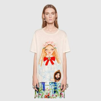 Gucci Women Short Sleeve Pure cotton Print Round collar Top