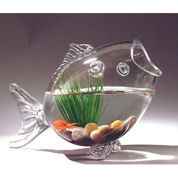 Fish Shaped Fish Bowl Glass Vase, 16-1/2-Inch, Large