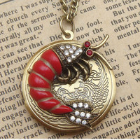 Steampunk Red Lobster Locket Necklace Vintage Style by sallydesign