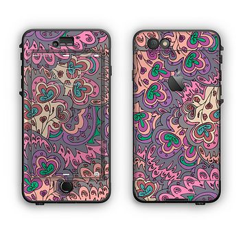 The Purple, Green, and Blue Vector Floral Pattern Apple iPhone 6 Plus LifeProof Nuud Case Skin Set