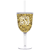 Gold Glitter Acrylic Wine Glass With Lid & Straw