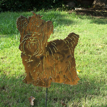 Yorkie Yorkshire Terrier Garden stake pet memorial Metal yard art garden sculpture gift steel