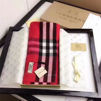 Best Online Sale Burberry Keep Warm Scarf Embroidery Scarves Winter Wool Shawl Lattice Style 2