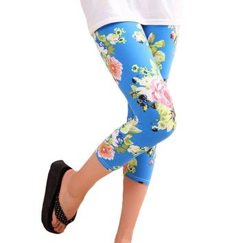 Floral Flower Women Capris  Leggings Soft Pants High Mid-Calf