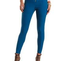 High-Waisted Skinny Trousers with Zipper by Charlotte Russe - Jade