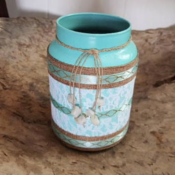 Makeup Brush Holder, Handmade, Recycled, Luxury Decor, Tiffany Blue Jar, Makeup, Dorm Room Decor, Vanity Makeup Holder, Cosmetics Organizer