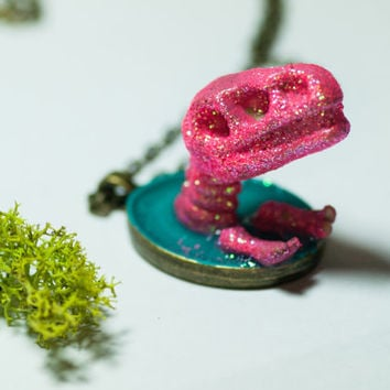 "Glittery Hot Pink Dinosaur Necklace | ""Tabitha the T-Rex"" 