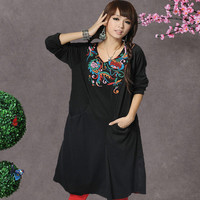 Women Ethnic Vintage Mexican Floral Embroidered Boho Peasant Casual Dress Black