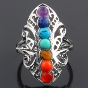 Silver Plated 7 Chakra Healing Hollow Thumb Reiki Natural Stones Ring for Women Adjustable Ring Boho Jewelry
