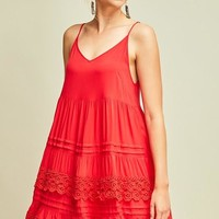 V-Neck Spaghetti Strap Dress with Tiered Crochet Lace Detail at Skirt - Red