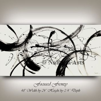 """Black and White Minimalist Painting on Canvas, 48"""" Acrylic Horizontal Large Wall Art, Contemporary Art, Home Decor or Office Decor, Gifts"""
