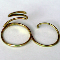 Wrap Around Golden Double Finger Ring-ALL SIZES Double Finger Snake Ring-Wire Wrapped Gold Tone
